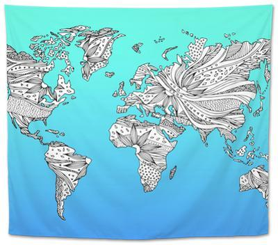 World Map Hand Drawn Flower Floral Design by benjavisa