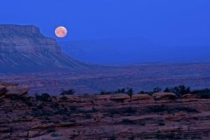 A Full Moon Seen from the Esplanade on the Bill Hall Trail, Grand Canyon, North Rim by Bennett Barthelemy