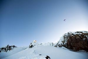 A Paraglider Launches from the Summit of Mt. Hood at Sunrise in Oregon by Bennett Barthelemy