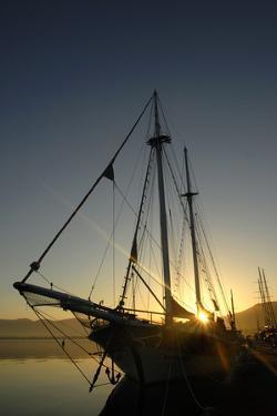 A Ship in the Mediterranean Harbor of Fethiye, Turkey by Bennett Barthelemy