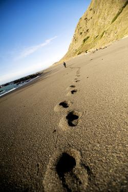 Footprints in Sand Along California's Lost Coast Trail, King Range Conservation Area, California by Bennett Barthelemy