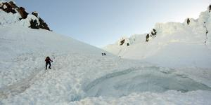 Mountaineers on Mt. Hood, Oregon Nearing the Summit Ridge by Bennett Barthelemy
