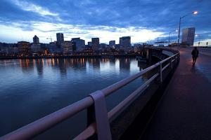 The Portland Oregon Skyline Seen from Burnside Bridge in Early Evening by Bennett Barthelemy