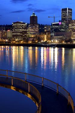 The Portland Oregon Skyline Seen from the Waterfront in Early Evening by Bennett Barthelemy