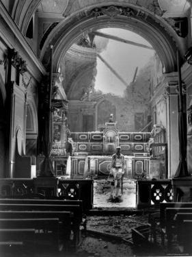 Pvt. Paul Oglesby, 30th Infantry, Standing in Reverence Before Altar in Damaged Catholic Church by Benson