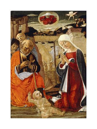 The Nativity, with the Annunciation to the Shepherds in the Distance