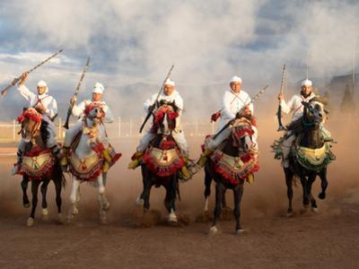 Berber Horseman Pulling Up after Firing Rifles During a Fantasia, Dades Valley, Morocco