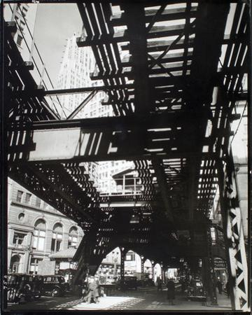 El' Second and Third Avenue Lines, Hanover Square and Pearl Street, Manhattan by Berenice Abbott