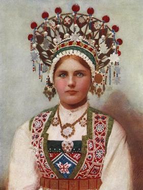 Norwegian Girl in Bridal Dress, 1899 by Bergen Söstrene Persen