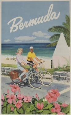 Bermuda Travel Poster, Couple on Bicycle