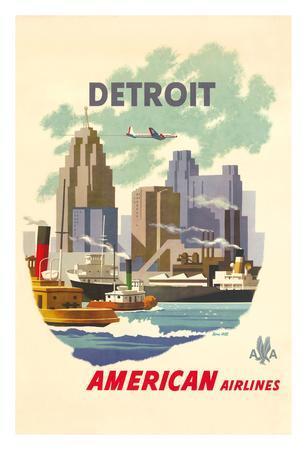 Detroit Michegan - American Airlines - Detroit Skyline
