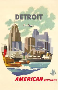 Detroit Michegan - American Airlines - Detroit Skyline by Bern Hill