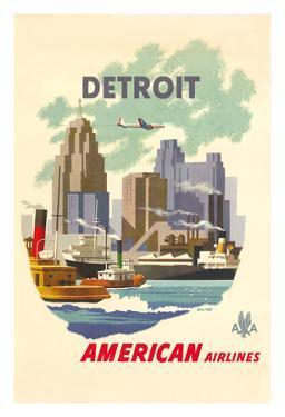 Detroit Michegan - American Airlines - Detroit Skyline by Bern Hill