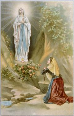 Bernadette Soubirous While Gathering Firewood Sees the Virgin Mary in the Rocky Grotto at Lourdes