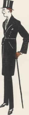 Gentleman in Evening Dress and a Topcoat Similar to a Frock Coat with a Seam at the Waist by Bernard Boutet De Monvel