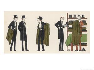Gentlemen in Evening Dress Queue to Collect Their Overcoats from the Cloakroom by Bernard Boutet De Monvel