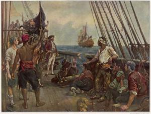 Pirate Crew Defy a Naval Warship by Bernard F. Gribble