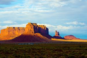USA, Arizona-Utah border. Monument Valley, Sentinel Mesa and Castle Rock. by Bernard Friel