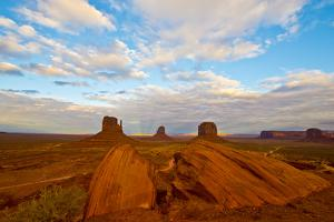 USA, Arizona-Utah border. Monument Valley, The Mittens and Merrick Butte. by Bernard Friel