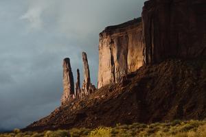 USA, Arizona- Utah, Navajo Tribal Park, Monument Valley, Three Sisters and Mitchell Mesa by Bernard Friel