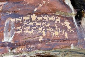 USA, Utah. Wellington, Nine-mile Canyon, Great Hunt Petroglyphs at Cottonwood Canyon. by Bernard Friel