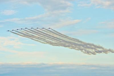 USA, Wisconsin, Oshkosh, Airshow dramatic plane formation by Bernard Friel
