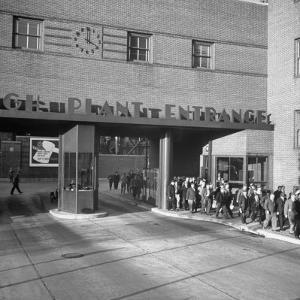 Bethlehem Steel, Reopening after Strike, Showing Workers Leaving, Clock on Wall Says 4 O'Clock by Bernard Hoffman