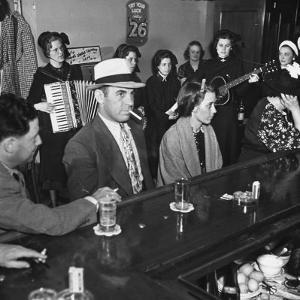 The Salvation Army Band Playing Musical Instruments and Singing in a Bar by Bernard Hoffman