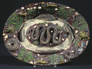 Plate with Embossed Naturalistic Decorations and Polychrome Enamel by Bernard Palissy