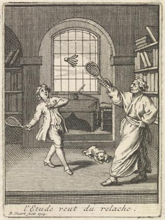 A Teacher Plays Badminton with His Pupil by Bernard Picart