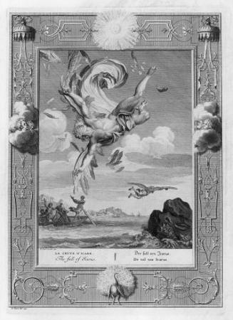 Icarus Flies Too Near the Sun Which Melts the Wax of His Wings and He Falls by Bernard Picart