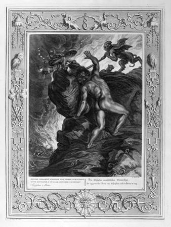 Sisyphus Pushing His Stone Up a Mountain, 1733 by Bernard Picart