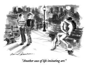 """""""Another case of life imitating art."""" - New Yorker Cartoon by Bernard Schoenbaum"""