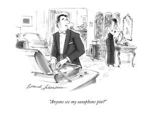 """""""Anyone see my saxophone pin?"""" - New Yorker Cartoon by Bernard Schoenbaum"""