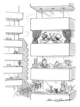 Apartment balconies with people, and one with a Punch and Judy play. - New Yorker Cartoon by Bernard Schoenbaum