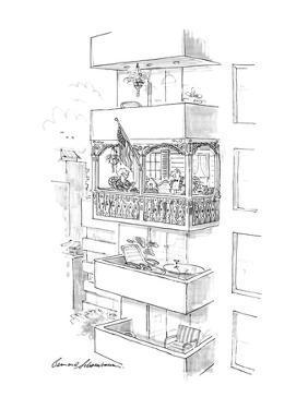 Elderly couple in modern apartment with old fashioned porch. - New Yorker Cartoon by Bernard Schoenbaum