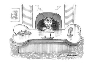 Executive, who is a large, mean bulldog, sits at a bone-shaped desk. - New Yorker Cartoon by Bernard Schoenbaum