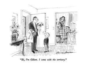 """Hi, I'm Gilbert.  I come with the territory."" - New Yorker Cartoon by Bernard Schoenbaum"