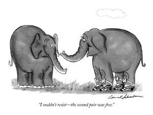 """I couldn't resist?the second pair was free."" - New Yorker Cartoon by Bernard Schoenbaum"