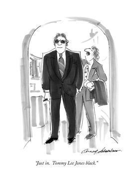 """""""Just in.  Tommy Lee Jones black."""" - New Yorker Cartoon by Bernard Schoenbaum"""