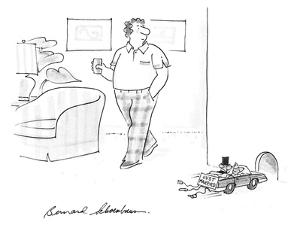 """Man notices mice in convertable with sign """"Just Married"""" on the bumper goi… - New Yorker Cartoon by Bernard Schoenbaum"""