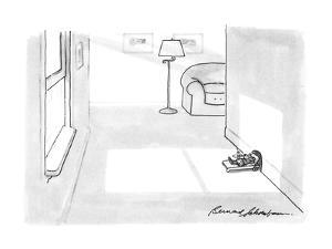 Mouse lying in the sun outside his mouse hole. - New Yorker Cartoon by Bernard Schoenbaum