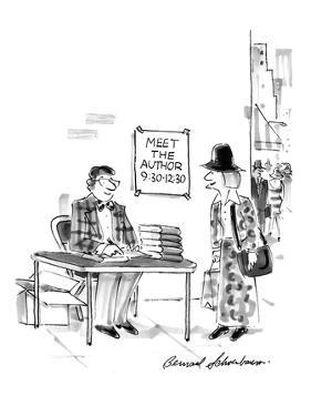 """On a street corner, under a sign, """"Meet the Author  9:30-12:30,"""" a young w… - New Yorker Cartoon by Bernard Schoenbaum"""