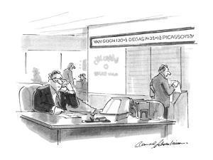 Stockbroker at desk, Above him are the stockmarket price quotations for Va? - New Yorker Cartoon by Bernard Schoenbaum
