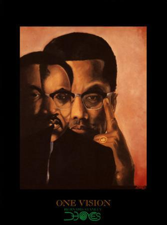 One Vision, Malcolm X and Martin Luther King Jr. by Bernard Stanley Hoyes
