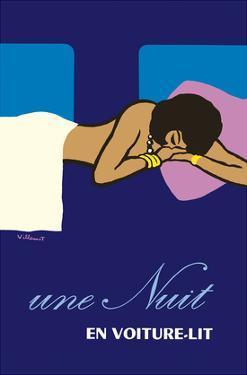 A Night in a Sleeper Car Train (Une Nuit en Voiture-lit) - French National Railways SNCF by Bernard Villemot