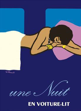 A Night in a Sleeper Car Train (Une Nuit en Voiture-lit) - French National Railways SNCF by Bernard Villemot