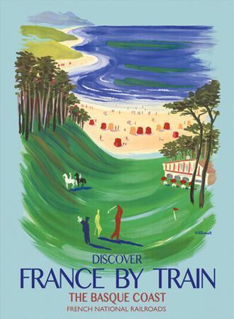 Discover France by Train - The Basque Coast - French National Railways by Bernard Villemot