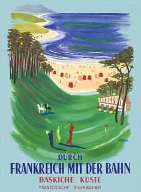Durch Frankreich mit der Bahn (Discover France by Train) - The Basque Coast - French Railways by Bernard Villemot