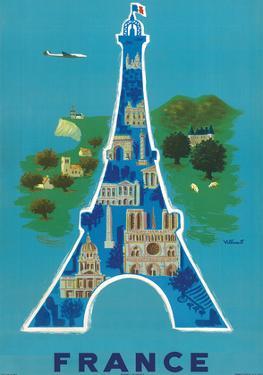France - Eiffel Tower, Paris by Bernard Villemot